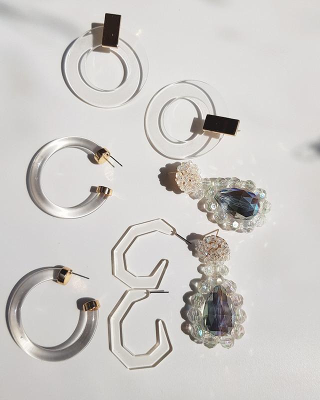 Clear Small Factor Earrings on kellinsilver.com
