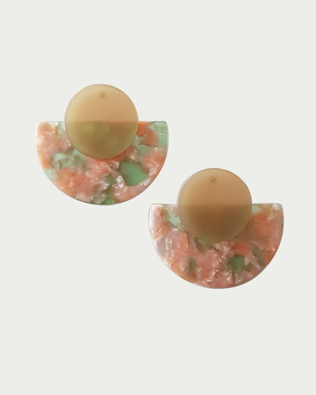Cyndi Fan Acrylic Earrings in Peach on kellinsilver.com