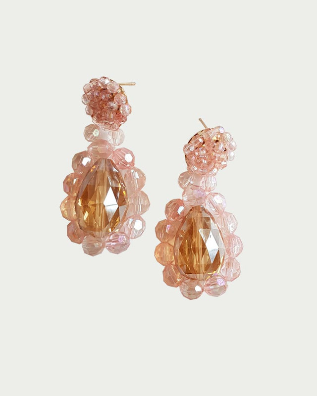 Reese Handcraft Beaded Earrings in Peach on kellinsilver.com