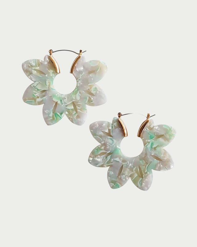 Nadia Daisy Hoop Earrings in Green on kellinsilver.com
