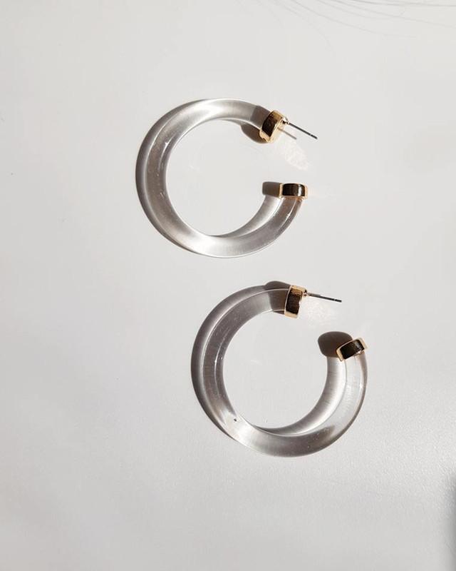 Geo Clear Hoop Earrings on kellinsilver.com