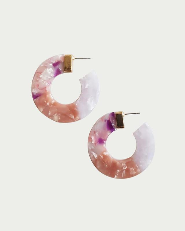 Maison Black Hoop Earrings in Pink on kellinsilver.com