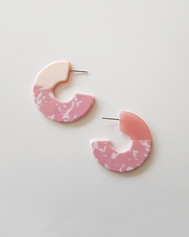 Nora Multi Color Hoop Earrings on Pink on kellinsilver.com
