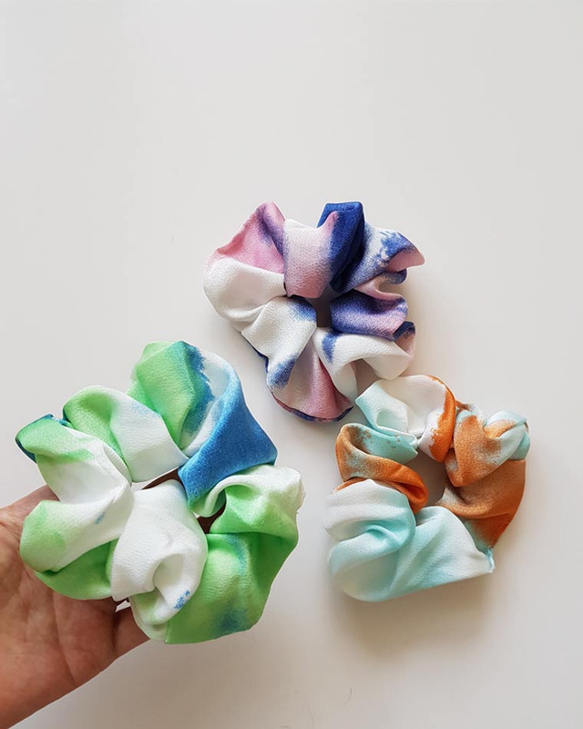 Satin Tie Dyed Scrunchies Set of 3 on kellinsilver.com