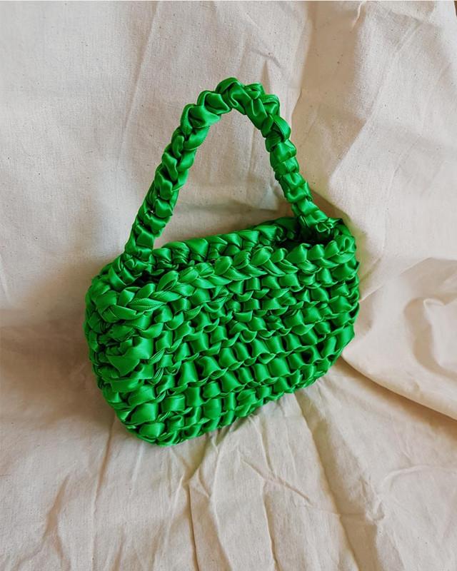 Satin Ribbon Mini Tote Bag in Green