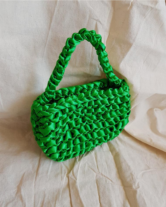 Satin Ribbon Mini Tote Bag in Green on kellinsilver.com