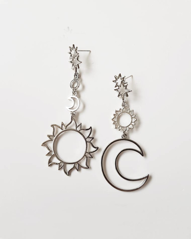 Stella Sun and Moon Earrings in Silver on kellinsilver.com