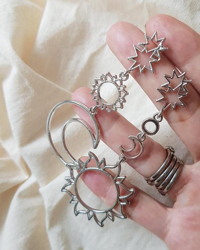 Stella Sun and Moon Earrings in Silver on kellinsilver.com