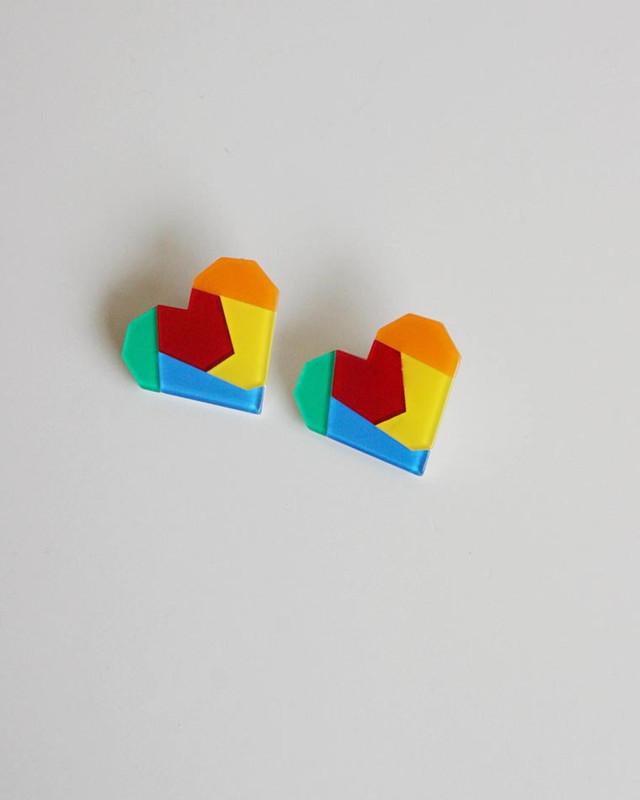 Rainbow Heart Acrylic Stud Earrings on kellinsilver.com