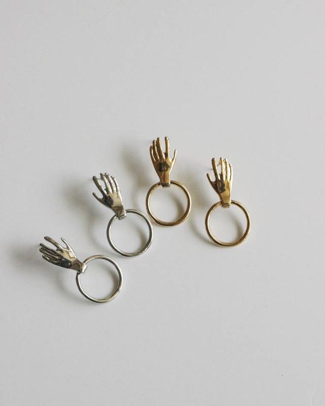 Hand on Ring Stud Earrings in Silver on kellinsilver.com