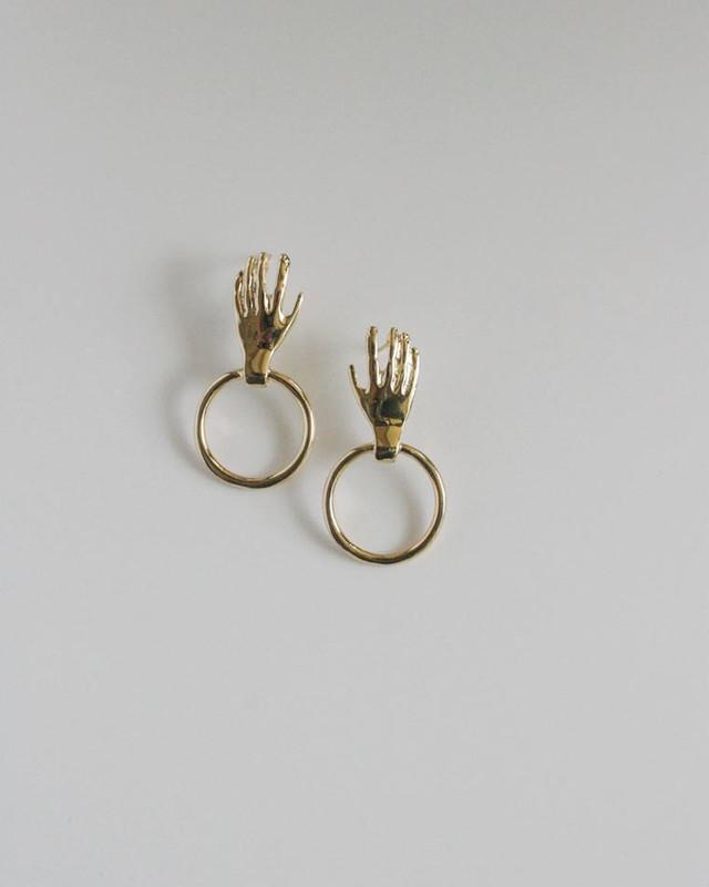 Hand on Ring Stud Earrings in Gold on kellinsilver.com