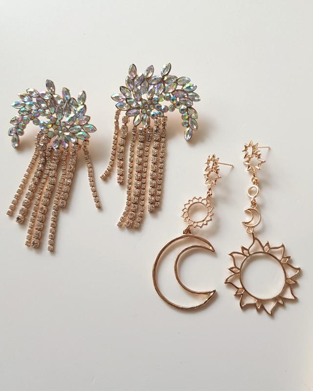 Stella Sun and Moon Earrings in Gold on kellinsilver.com
