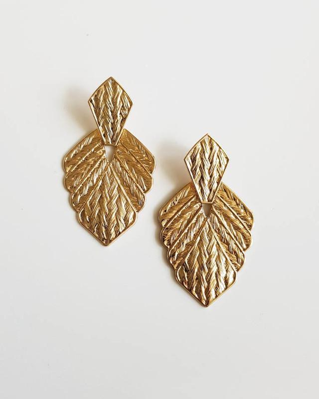 Gold Herringbone Leaf Earrings  on kellinsilver.com