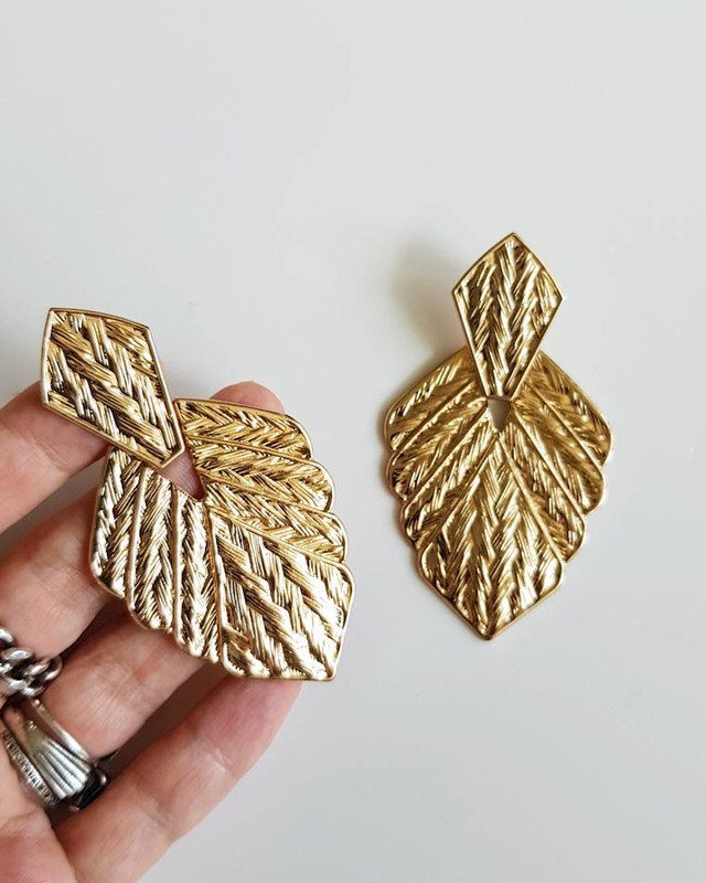 Gold Herringbone Leaf Earrings  on kellinsilver.com