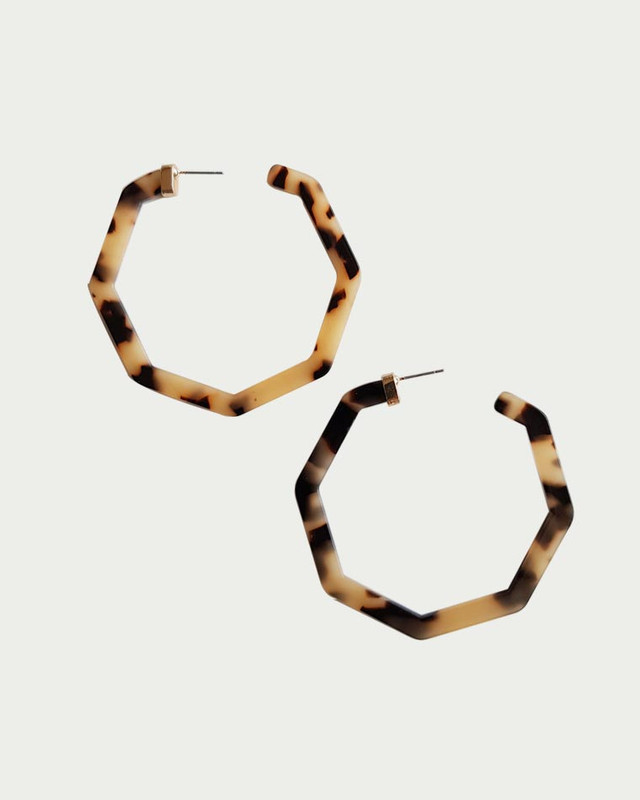 Acrylic Hex Hoop Earrings in Tortoise on kellinsilver.com