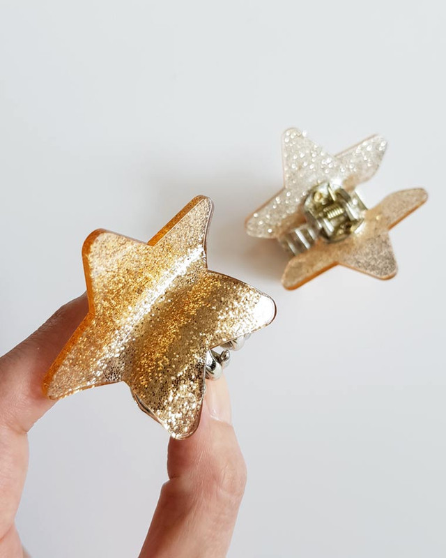 Gold Glitter Star Hair Claws Set of 2 on kellinsilver.com