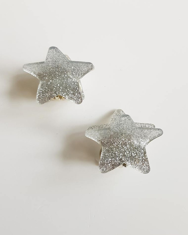 Silver Glitter Star Hair Claws Set of 2 on kellinsilver.com