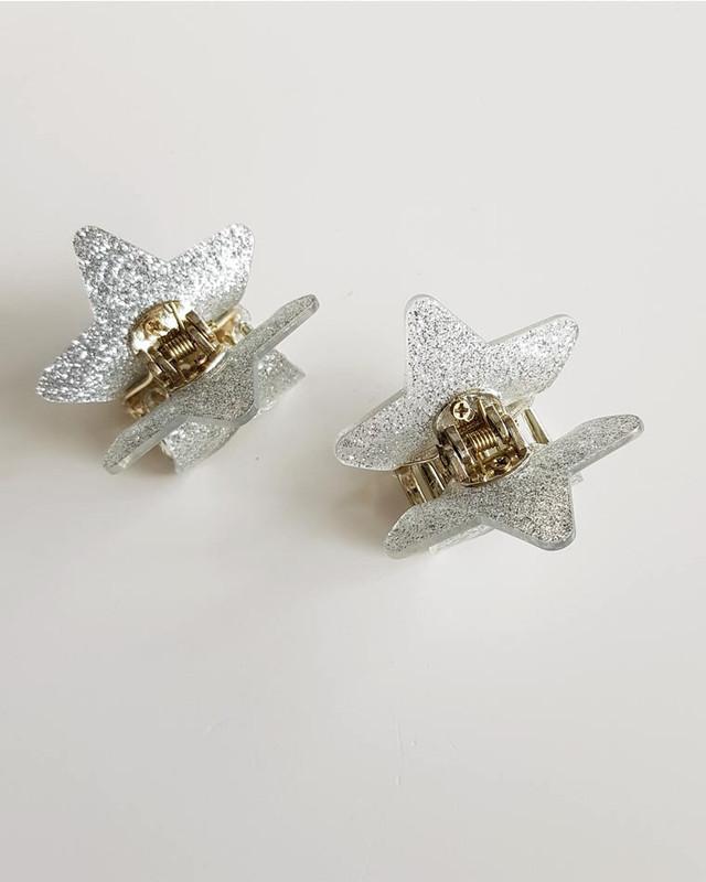 Silver Glitter Star Hair Claws Set of 2 on kellinsilver.com