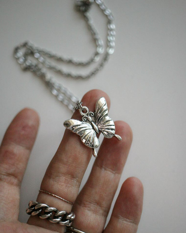 Stainless Steel Butterfly Necklace on kellinsilver.com