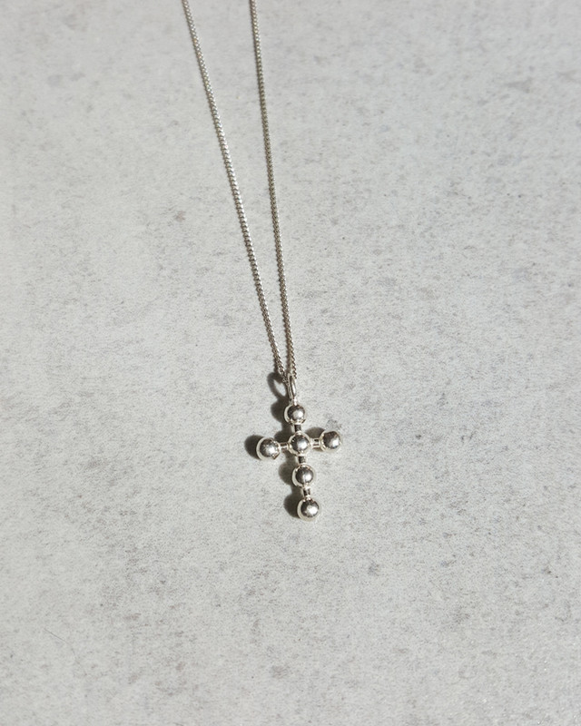 Small Dot White Gold Cross Necklace Sterling Silver from kellinsilver.com