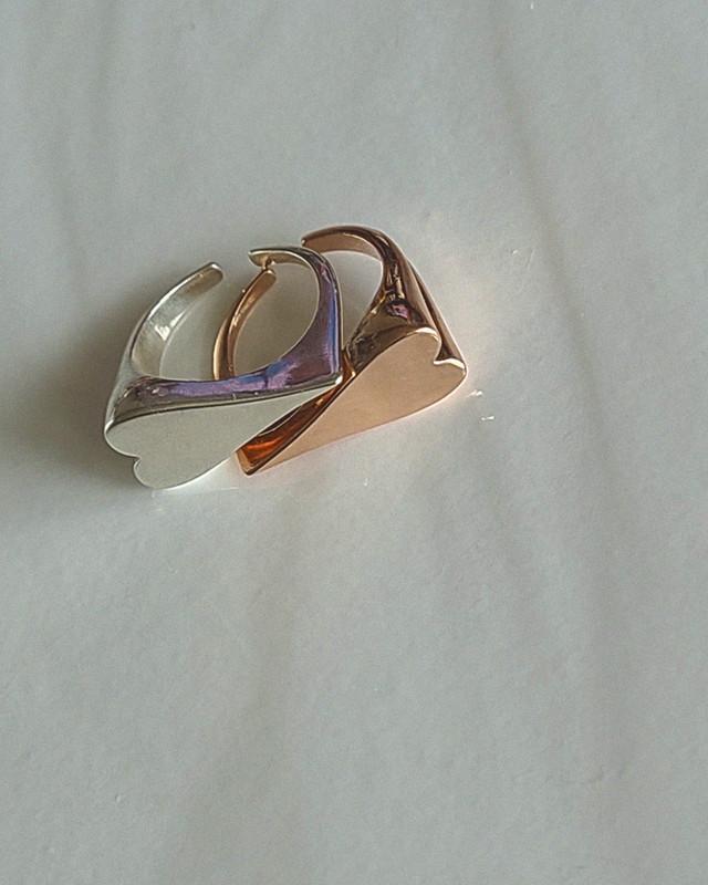 Sideways Heart Rose Gold Ring in Sterling Silver on kellinsilver.com