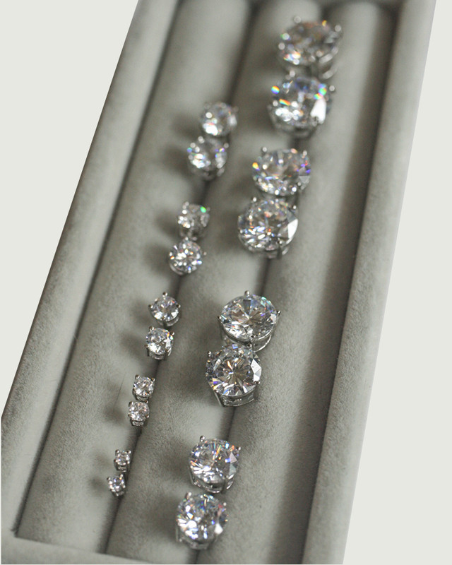 CZ Round Brilliant Diamond Stud Earrings in Sterling Silver on kellinsilver.com