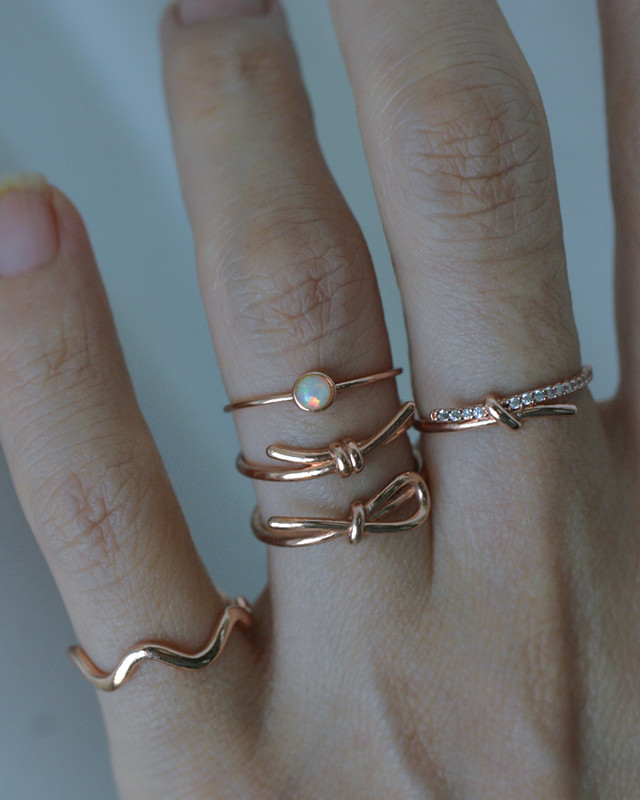 Rose Gold Bezel Opal Thin Ring in Sterling Silver on kellinsilver.com
