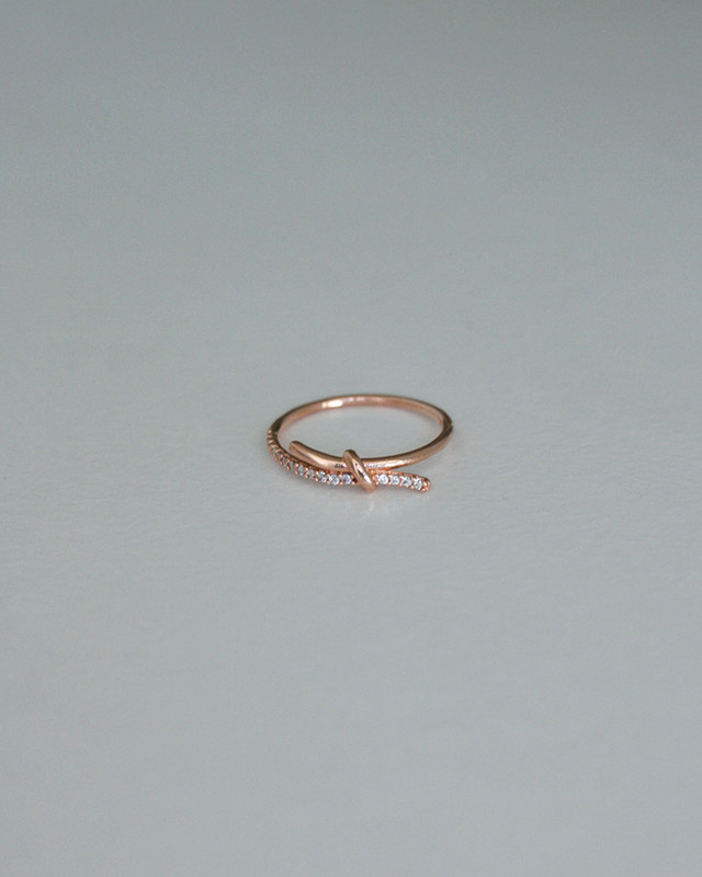 Rose Gold CZ Promise Knot Thin Ring in Sterling Silver from kellinsilver.com
