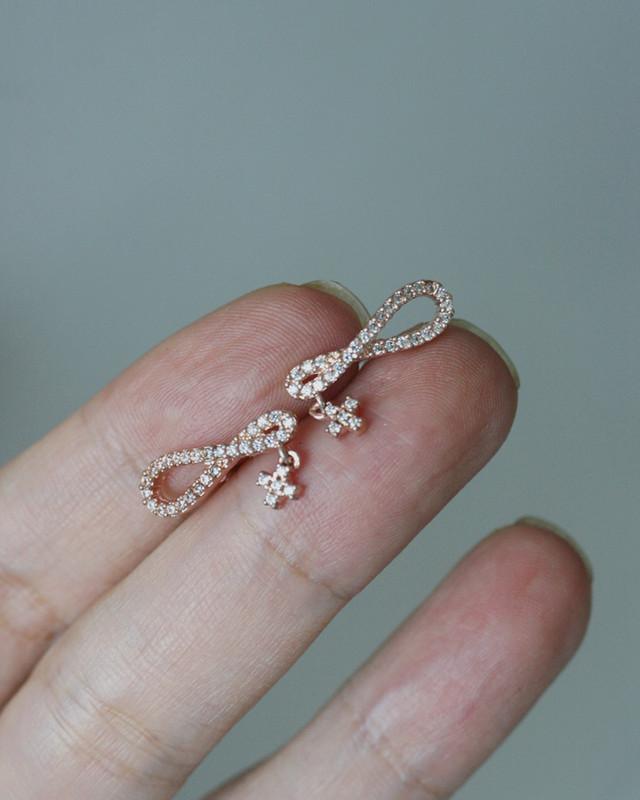 Rose Gold CZ Infinity with Cross Charm Stud Earrings on kellinsilver.com