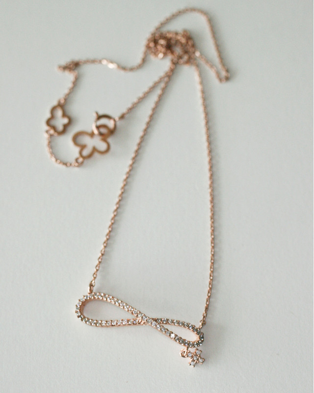 Rose Gold CZ Infinity with Cross Charm Necklace in Sterling Silver on kellinsilver.com