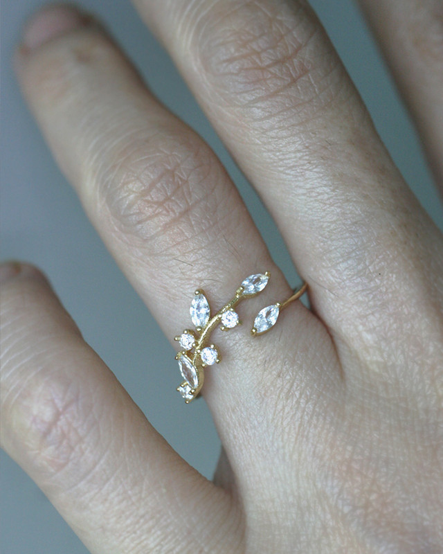 Yellow Gold CZ Olive Leaf Thin Ring in Sterling Silver on kellinsilver.com