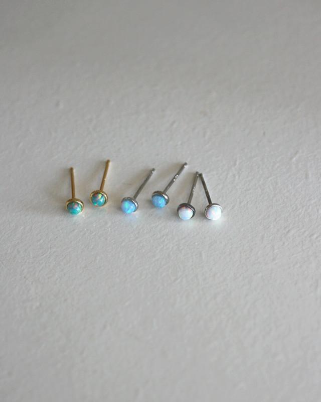3mm Tiny White Opal Bezel Stud Earrings in Sterling Silver on kellinsilver.com