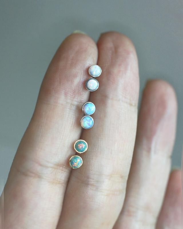 3mm Tiny Green Opal Gold Bezel Stud Earrings in Sterling Silver on kellinsilver.com