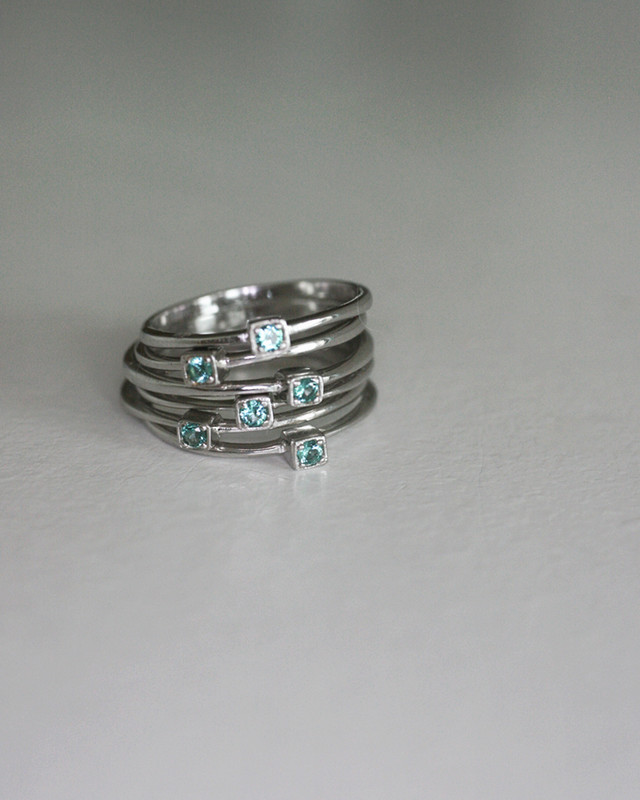Green Single CZ Thin Stack Ring in Sterling Silver on kellinsilver.com