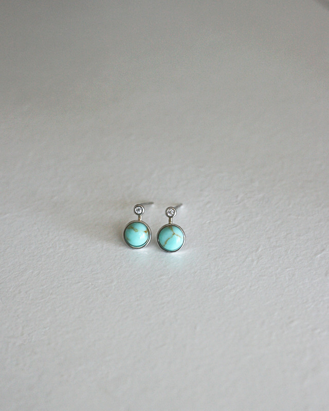 Tiny Bezel Turquoise with CZ Stud Earrings in Sterling Silver  on kellinsilver.com