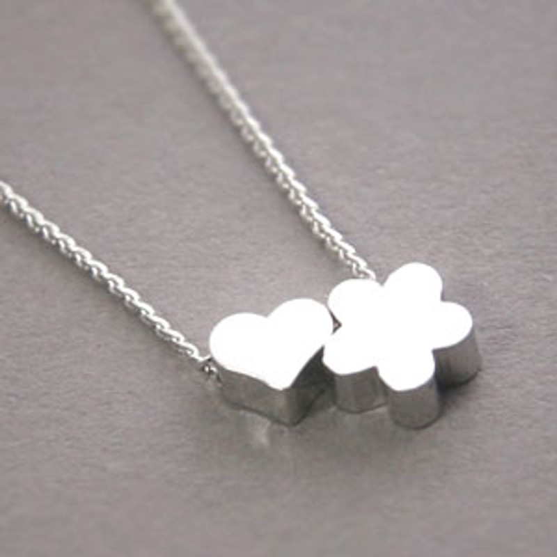 White Gold Flower and Heart Necklace Sterling Silver from kellinsilver.com