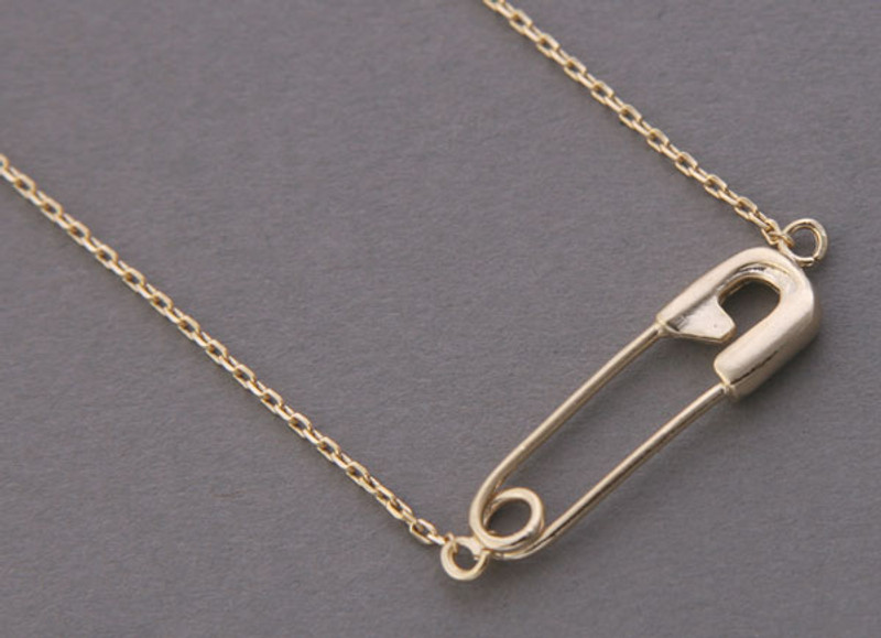 Yellow Gold Safety Pin Necklace Sterling Silver from kellinsilver.com