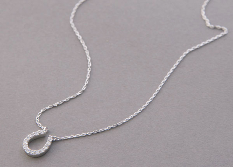 White Gold Swarovski Horseshoe Necklace Sterling Silver
