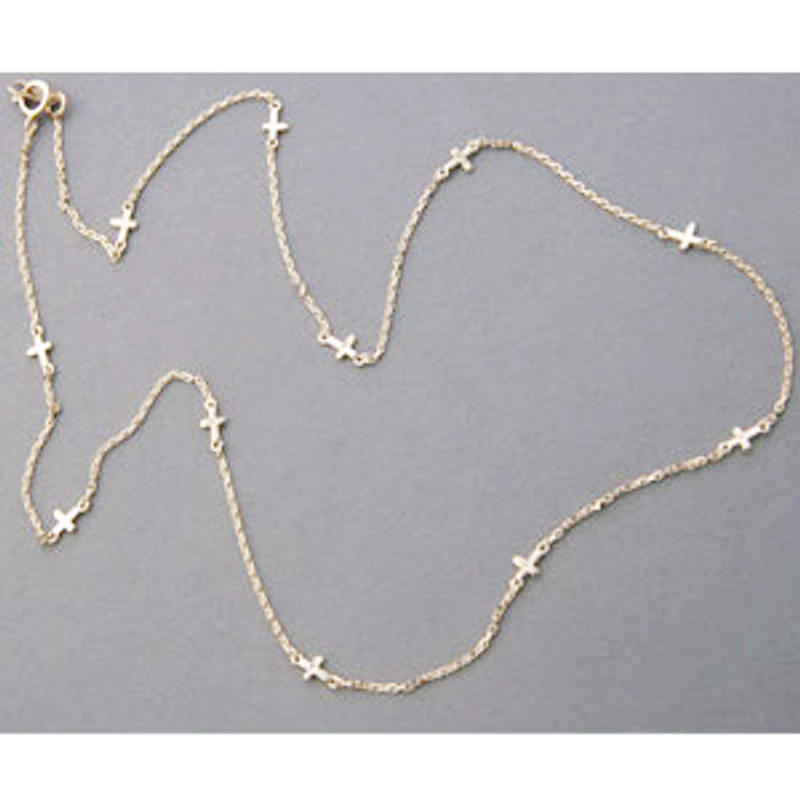 Yellow Gold Sideways Cross Chain Necklace Sterling Silver