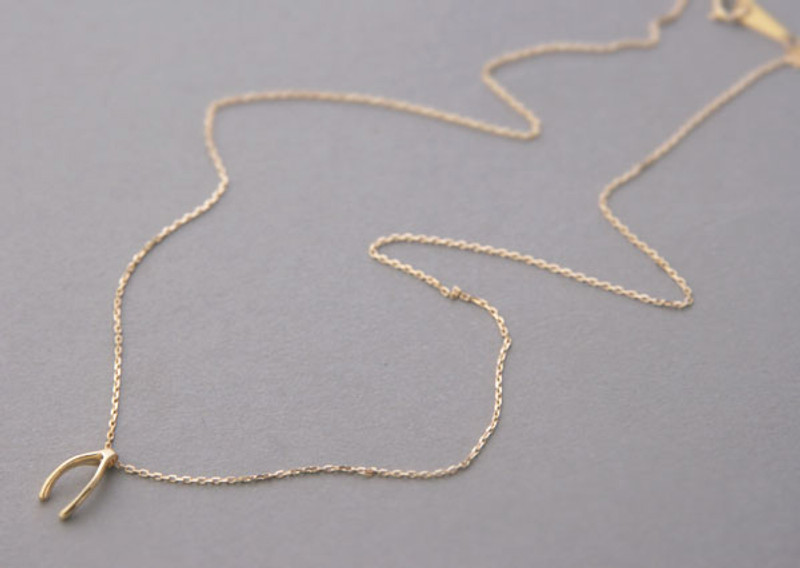 Yellow Gold Wishbone Necklace Sterling Silver FROM KELLINSILVER.COM