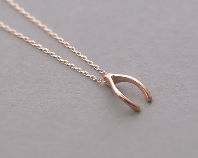 Rose Gold Wishbone Necklace Sterling Silver FROM KELLINSILVER.COM