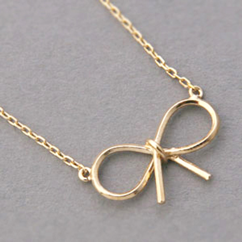 Yellow Gold Reminder Bow Necklace Sterling Silver