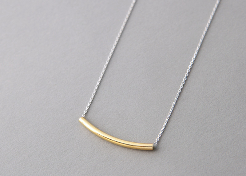 Yellow Gold Curved Bar Necklace Sterling Silver