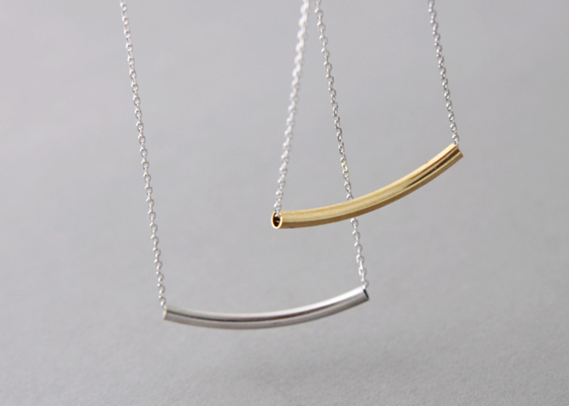 White Gold Curved Bar Necklace Sterling Silver