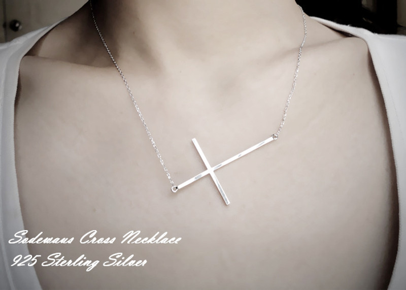 White Gold Sideways Cross Necklace Sterling Silver from kellinsilver