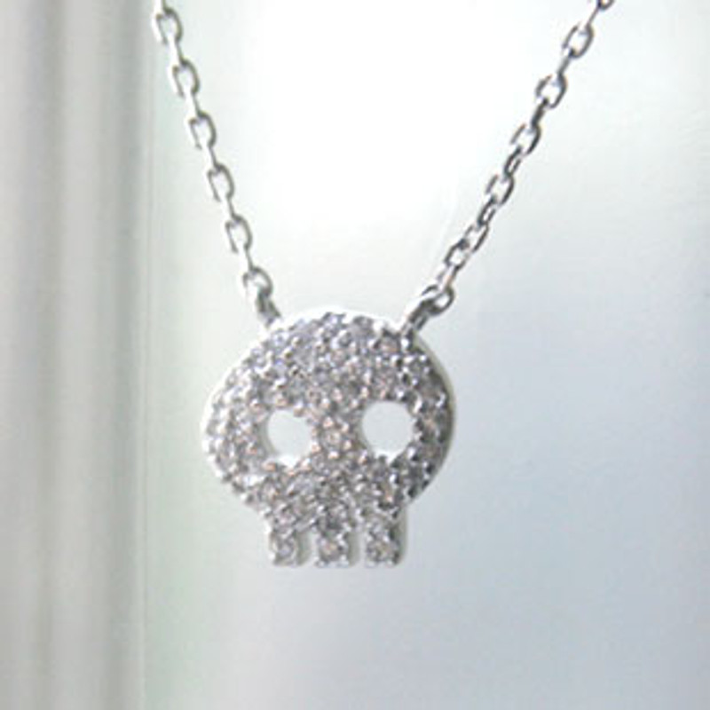 White Gold Swarovski Skull Necklace Sterling Silver from kellinsilver.com