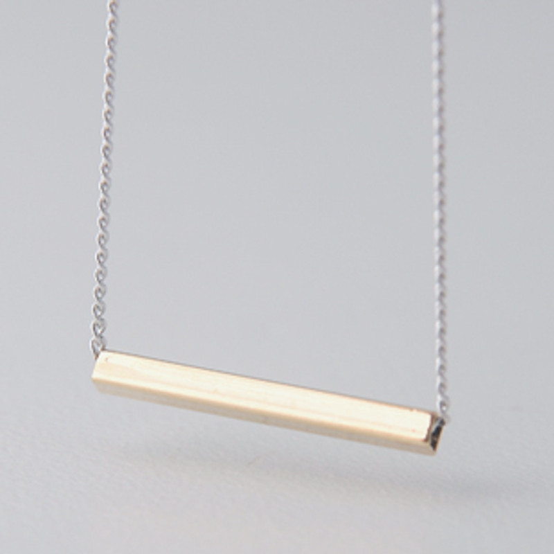 Horizontal Gold Bar Necklace Sterling Silver from kellinsilver.com