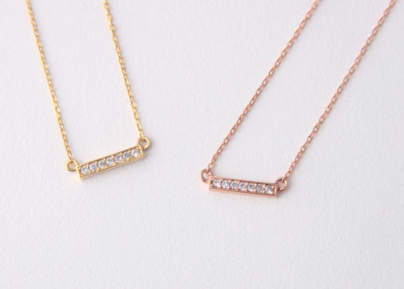 Seven Swarvoski Gold Bar Necklace Sterling Silver