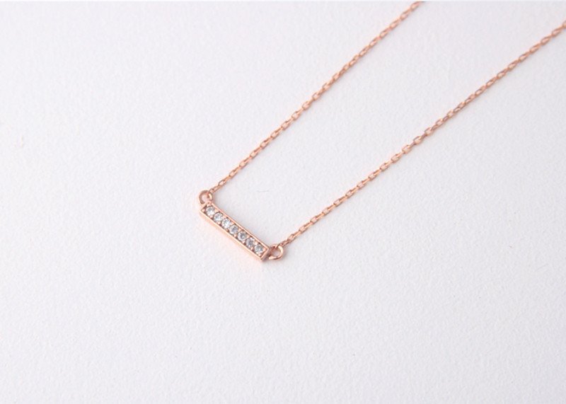 Seven Swarvoski Rose Gold Bar Necklace Sterling Silver