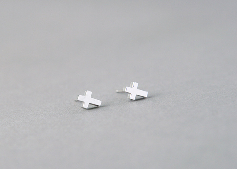 Tiny Cross Earrings Studs Sterling Silver